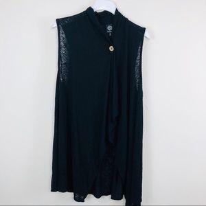 Bobeau Black Sleeveless Open Cardigan Size 2x